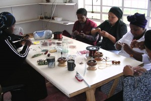 Women beadworking